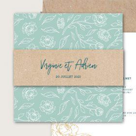faire part mariage green feuillage pour mariage chic et naturel avec feuilles et fleurs