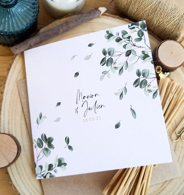 faire part mariage confetti d'eucalyptus et feuilles