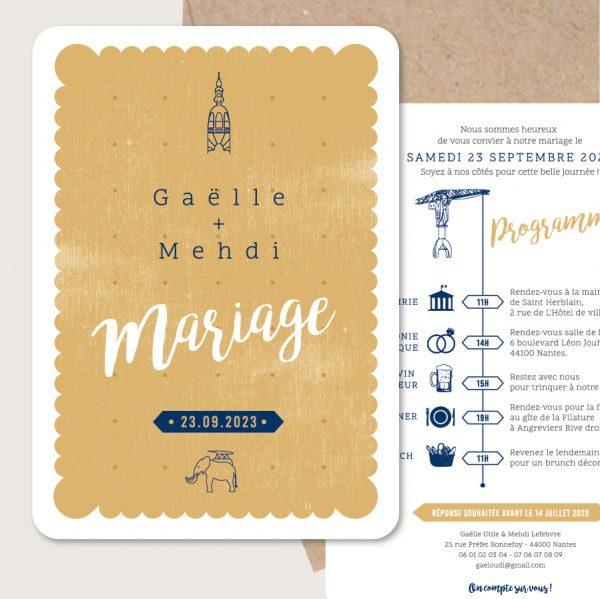 faire part de mariage Love in Nantes original petit lu