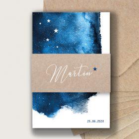 Faire part naissance mixte thème constellation bleu nuit et étoiles chic