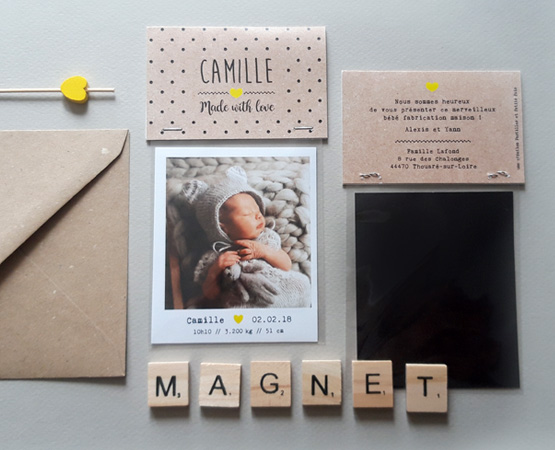 Fantastique Faire-part de naissance Magnet kraft : photo magnet polaroïd UV-77