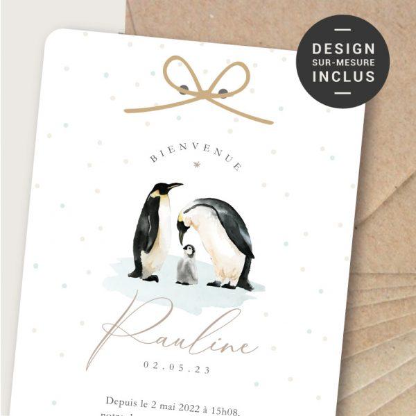 faire-part naissance nordic chic pingouin