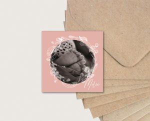 faire part naissance plume et fleurs bohème rose fille