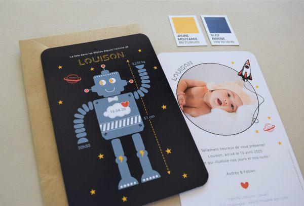 faire part garçon thème espace étoiles et robot original