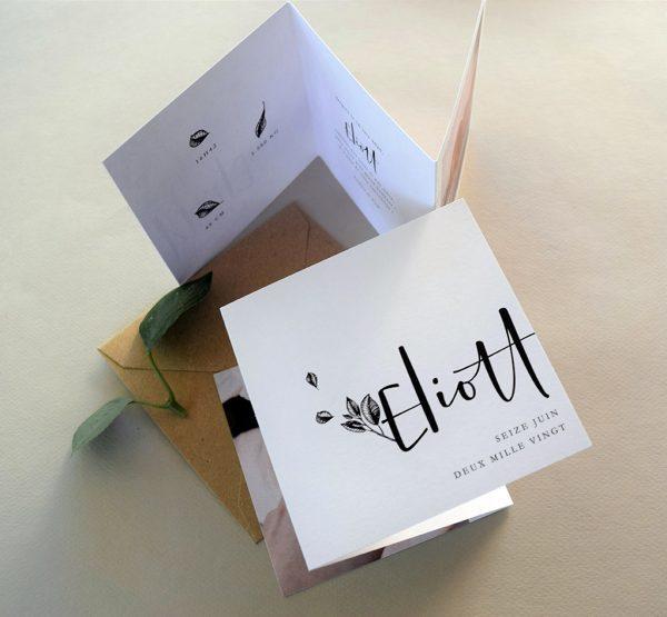 faire parts naissance creatif à plis accordeon et feuillage chic
