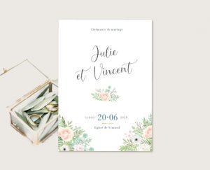 Livret de cérémonie mariage thème bohème chic à fleurs