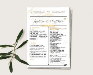Journal cérémonie mariage thème voyage