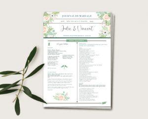 Journal de cérémonie mariage thème bohème chic à fleurs
