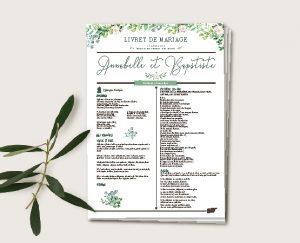 journal de cérémonie mariage couronne de fleurs