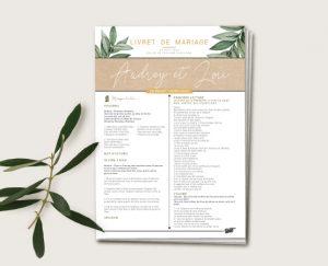 journal de cérémonie mariage kraft chic