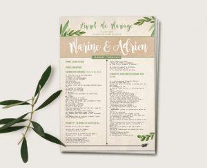 Journal de cérémonie mariage thème voyage