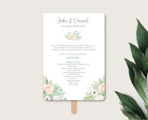 Eventail de cérémonie mariage thème bohème chic à fleurs