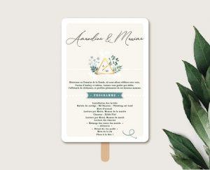 Eventail de cérémonie personnalisable mariage blanc et végétal chic