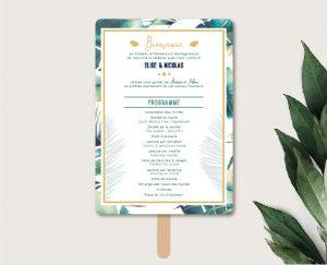 Eventail de cérémonie mariage thème tropical chic