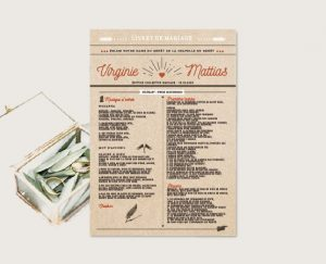 Journal de cérémonie mariage chic thème bière et vin