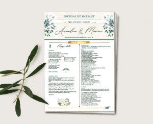 Journal de cérémonie mariage blanc et végétal chic