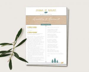 Journal de ceremonie mariage folk chic or et vert fougeres