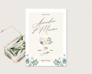 Livret cérémonie mariage blanc et végétal chic