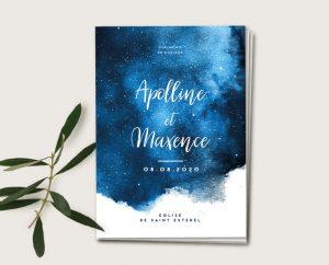 inspiration papeterie mariage thème étoiles et constellation bleu nuit chic