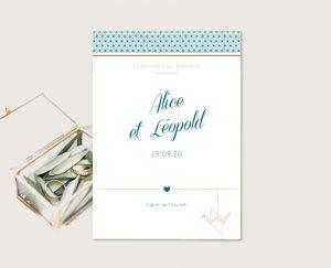 Livret de cérémonie mariage chic thème origami japon et grues bleu et or