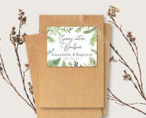 étiquette cadeau invité graine à semer mariage couronne de fleurs