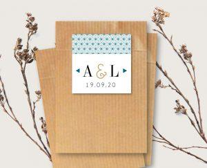 Etiquette mariage chic thème origami japon et grues bleu et or