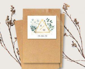 Etiquette cadeau sachet de graines à semer personnalisable mariage blanc et végétal chic