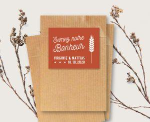 Etiquette cadeau invités graines à semer mariage chic thème bière et vin