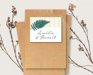 Etiquette cadeau invités mariage folk chic or et vert fougeres