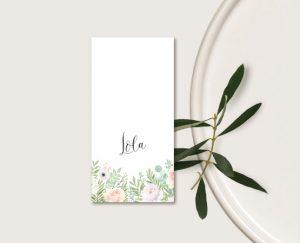 Marque place mariage thème bohème chic à fleurs