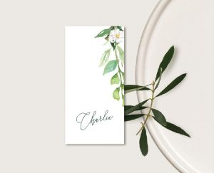 marque place mariage couronne de fleurs champetre