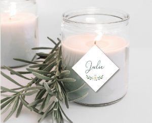 étiquette cadeau invité mariage couronne de fleurs