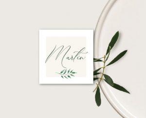 marque place personnalisable mariage blanc et végétal chic