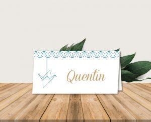 marque place mariage chic thème origami japon et grues bleu et or