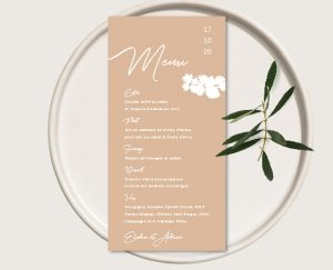Menu original inspiration décoration mariage automne