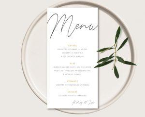 menu cocotte mariage kraft chic