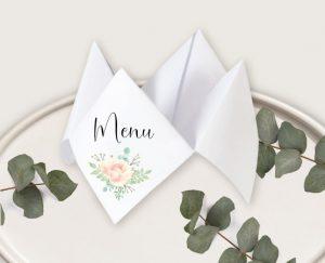 Menu mariage thème bohème chic à fleurs