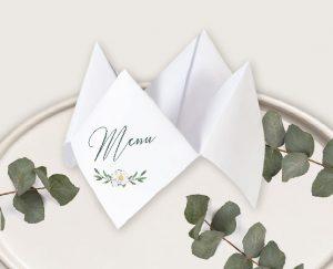menu cocotte mariage couronne de fleurs