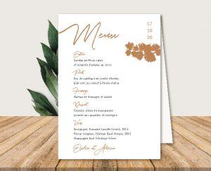 Menu de table original inspiration décoration mariage automne