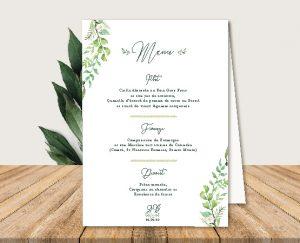 Menu de table mariage champetre