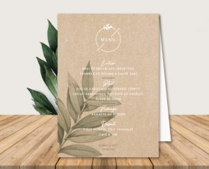 menu de table mariage kraft chic