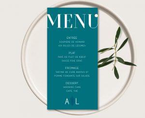 menu individuel mariage bleu et or et faire-parts gatsby