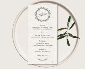 faire part mariage bohème écoresponsable avec couronne de fleurs