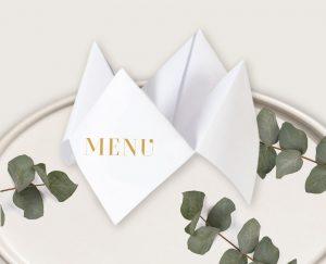 menu cocotte mariage bleu et or et faire-parts gatsby