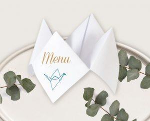 Menu mariage chic thème origami japon et grues bleu et or