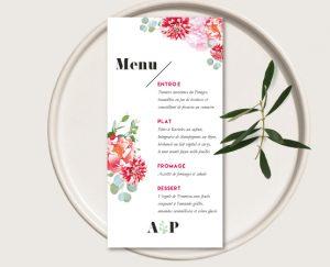 faireparts mariage thème fleurs blanc et roses