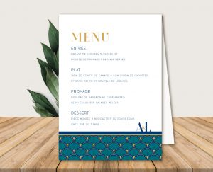 menu de table mariage bleu et or et faire-parts gatsby