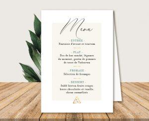 Menu de tables mariage blanc et végétal chic