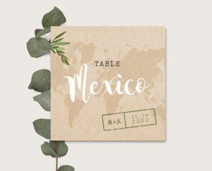 Nom de tables mariage thème voyage
