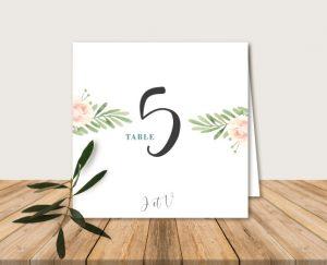 Nom de table mariage thème bohème chic à fleurs